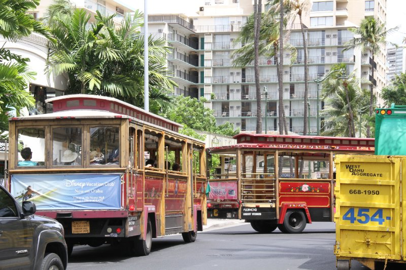 Trolleys in Waikiki