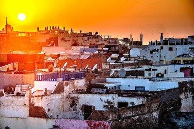 Sunset over Essaouira rooftops