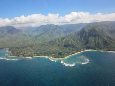 Ke'e and Tunnels Beaches from the Air