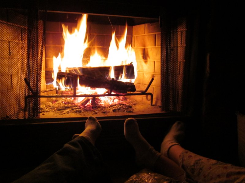 A warm fire on a cool night