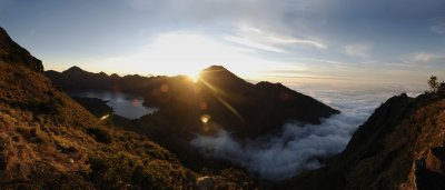 Sun set over mount Rinjani