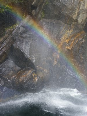 Rainbow through waterfall....