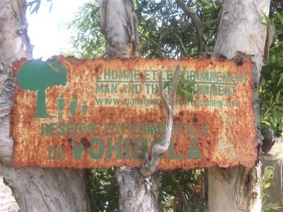 One entrance of the Vohibola reserve, slighty rusty