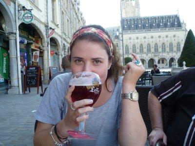 Olivia enjoying a drink in Arras