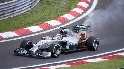 Lewis Hamilton suffered a dramatic engine failure in Q1