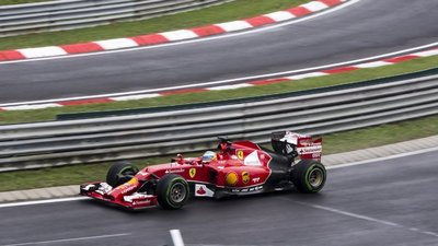 Fernando Alonso in action during the early, wet phase of the race