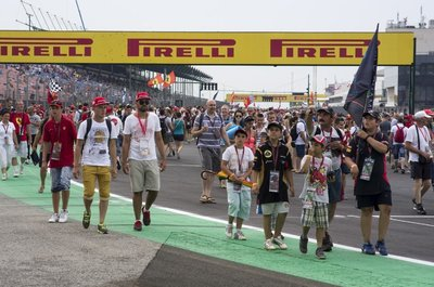 F1 fans on track after the race