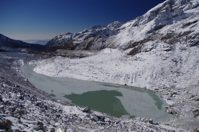 A glacial lake in the upper Oklatang Valley