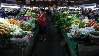 A stallholder tends to the veg display
