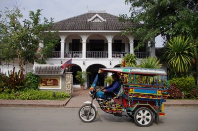 A tuk tuk on the streets of Luang Prabang