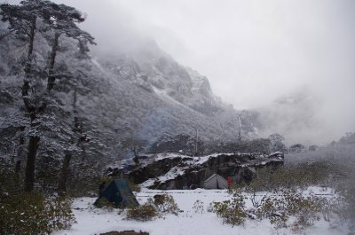 A wintry campsite at Tikip Chu