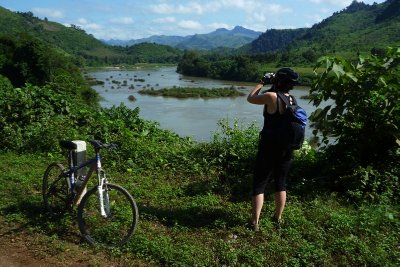 Jen photographing the Nam Ou River in Laos