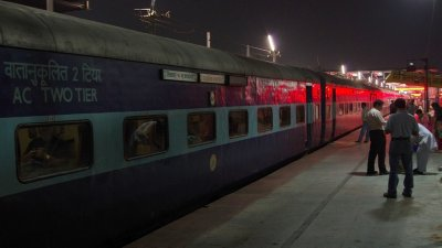 The Padatik Express ready to leave on Platform 4