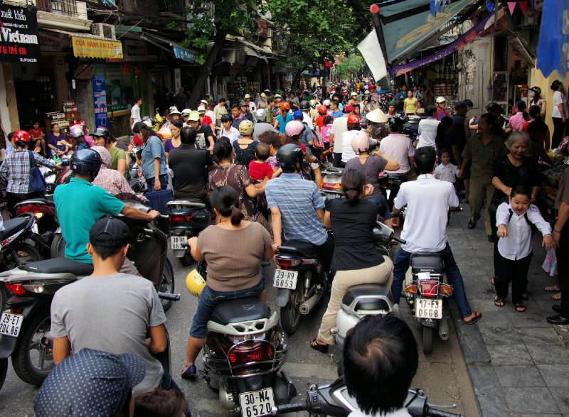 Moped logjam at the school gates