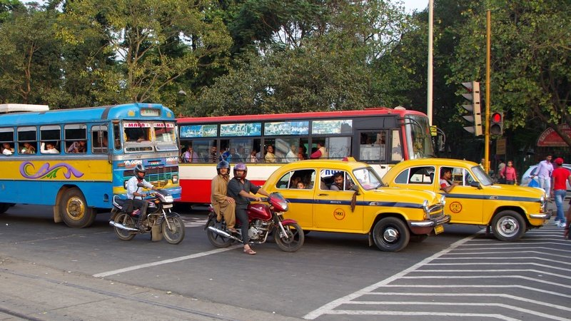 Ambassadors and buses in Kolkata