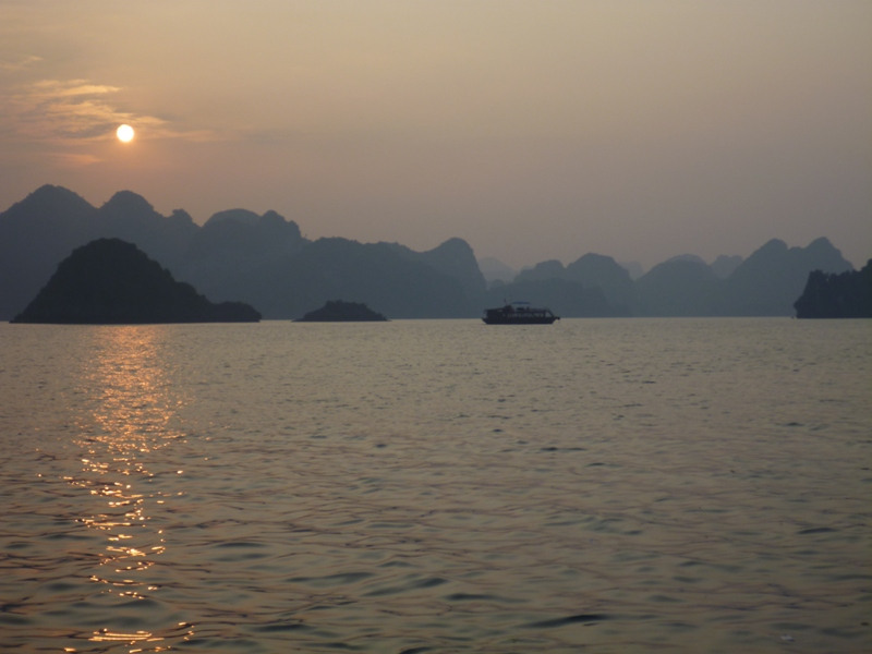 A Halong Bay sunset
