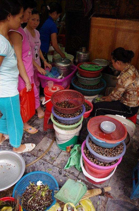Hanoi ladies queuing for their snails