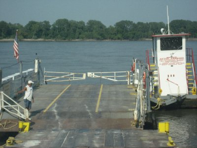 Getting Ready to Drive onto Car Ferry in  Sainte Genevieve, MO