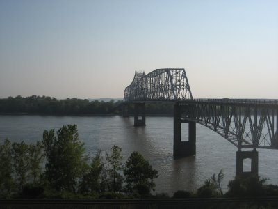 Mississippi River Bridge headed to Kaskaskia IL from Chester IL