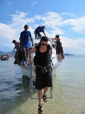 Joanie getting off the boat from Bali to Gili Air