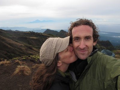 Joanie and Micah at the Rinjani Crater Rim
