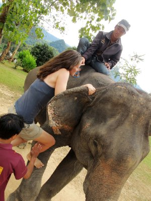 Joanie learning to mount an elephant