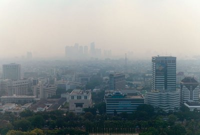 Polluted skies in Jakarta, Indonesia