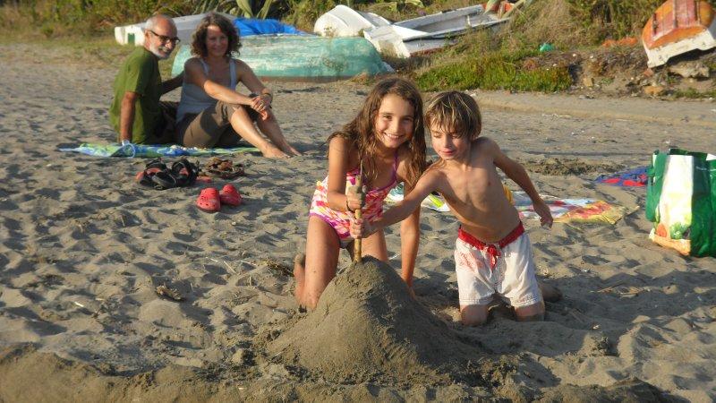 Sand volcano building. Torreguadiaro.