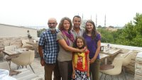 With Mehmet on rooftop restaurant with spectacular view of Blue Mosque