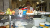 Buying cheese in the Dolac market.