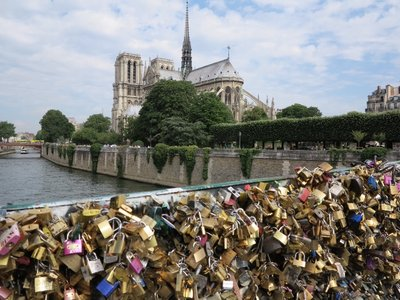 Paris - Notre Dame from locks of love bridge