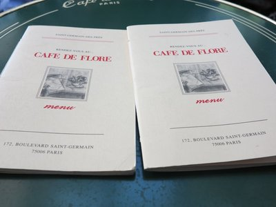 Paris - Cafe de Flore Menu