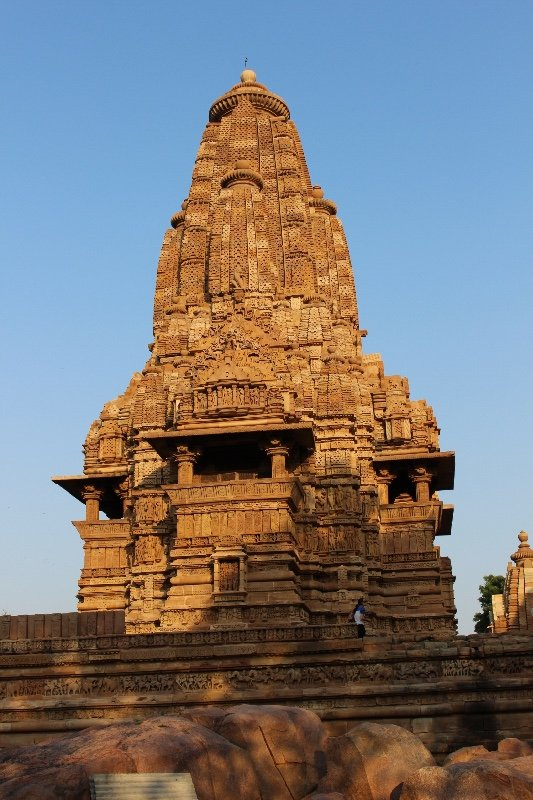 Khajuraho - Temple with sun setting