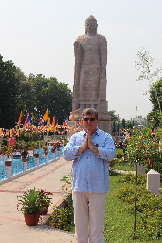 Sarnath - Tom with Buddha statue