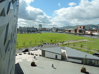 Looking at Belfast from the Titanic Museum