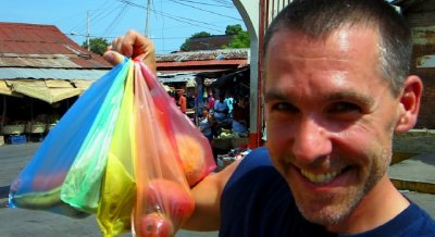 rainbow of market bags