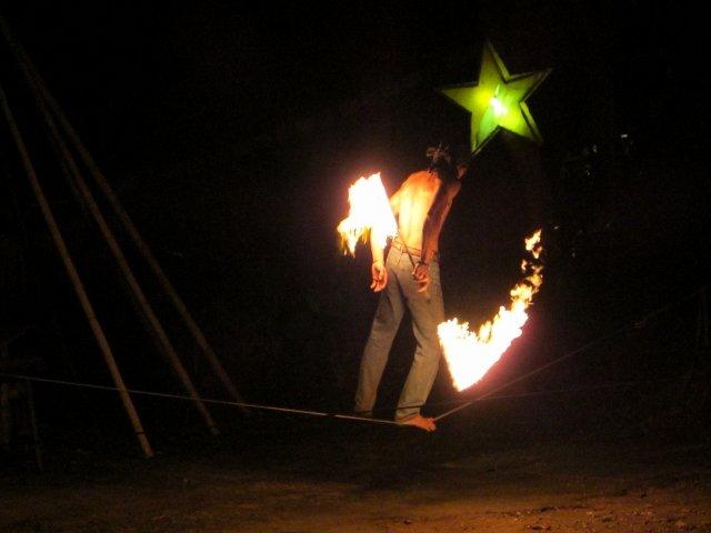 Fireshow on Slack Line