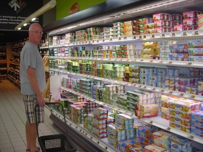 Nils can not decide which yoghurt to buy...this happens every shopping trip.
