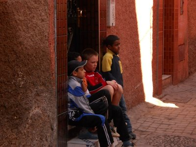 Angus and his friends outside the riad in Marrakech
