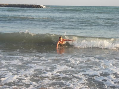 October 15 - body surfing in Sète, France.