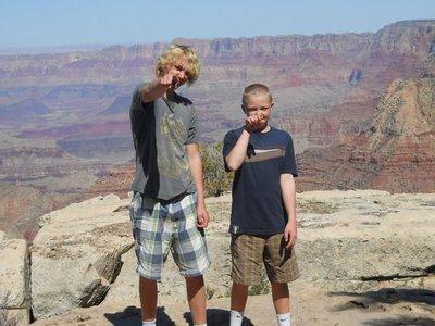 Joking around at the Canyon edge