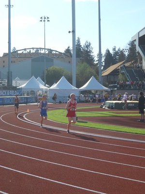 Kieran rounding the track in Eugene