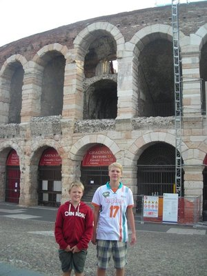 Max and Angus in front of the Roman Arena in Verona.