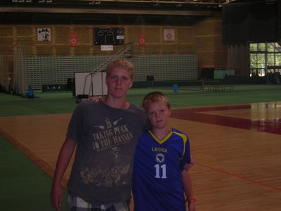 Max and Angus in the main hall of the Olympic centre.