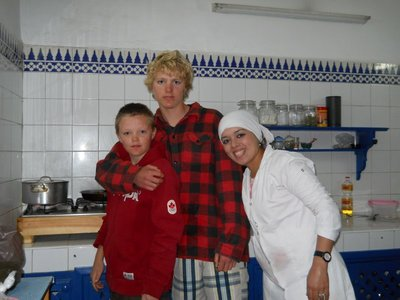 Chefs Angus, Max and Myriam in the kitchen of the Riad Les Matins Bleus