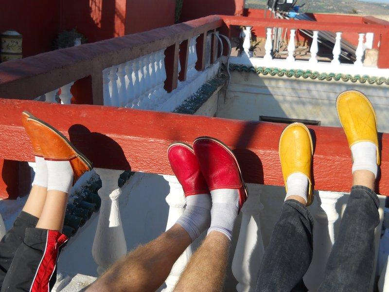 A chorus line of Smartie shoes