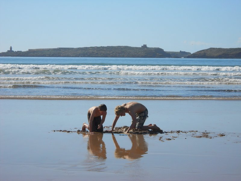 Digging on the beach in Essaouira