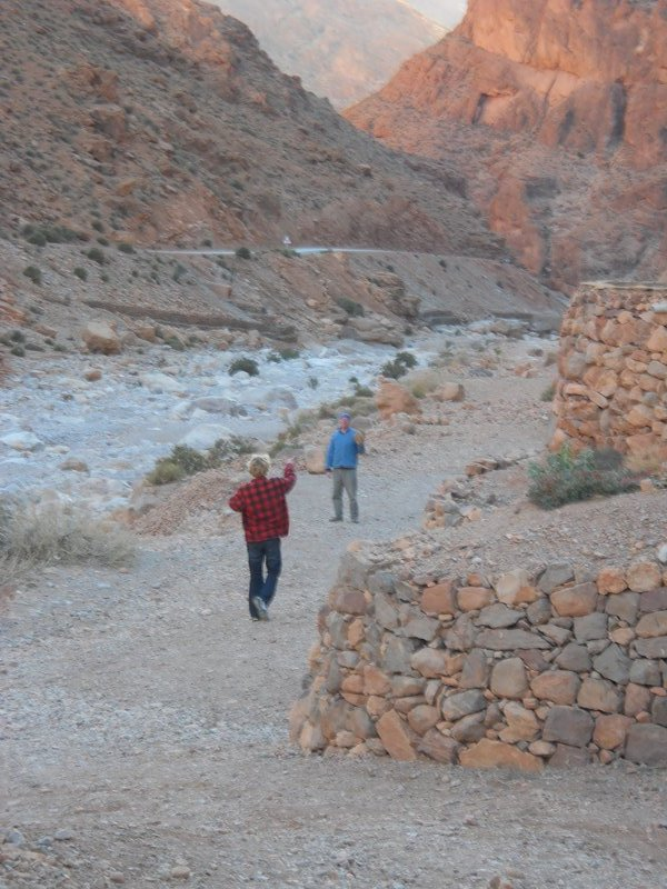 Playing catch near the Todra Gorge