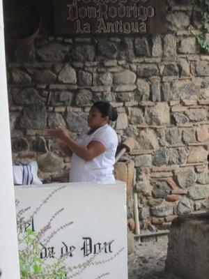Tortilla making at breakfast - Hotel Casa Santo Domingo
