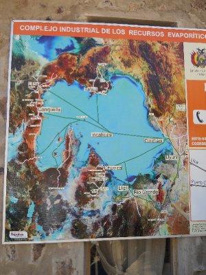 Kart over Uyuni og omraadet vi var paa tur i